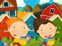 Karikaturbauernhofszene - Kinder, die nahe den Bienenstöcken spielen Lizenzfreies Stockfoto