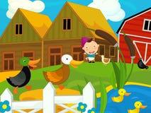 Karikaturbauernhofszene - Mädchen auf dem Bauernhof Stockfotos