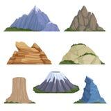 Karikaturberge Felsenlandschaftsvektorhintergrund des Schneerocky mountains-Sommergeländes im Freien lokalisiert stock abbildung