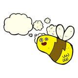 Karikaturbiene mit Gedankenblase Stockbild