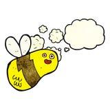 Karikaturbiene mit Gedankenblase Stockfoto