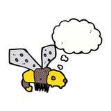 Karikaturbiene mit Gedankenblase Stockfotografie