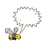 Karikaturbiene mit Spracheblase Stockfotografie