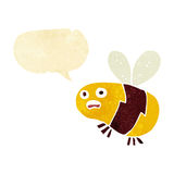 Karikaturbiene mit Spracheblase Stockbilder
