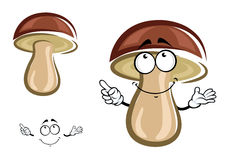 Karikaturbirkenpilz mit braunem Hut Stockfoto