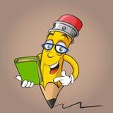 Karikaturbleistift mit Buch Lizenzfreies Stockfoto