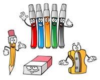 Karikaturbleistift, Radiergummi, Markierungen, Bleistiftspitzer Lizenzfreie Stockfotos