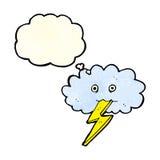 Karikaturblitzbolzen und -wolke mit Gedanken sprudeln Lizenzfreie Stockfotos