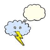 Karikaturblitzbolzen und -wolke mit Gedanken sprudeln Stockfotos