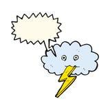 Karikaturblitzbolzen und -wolke mit Rede sprudeln Stockfoto