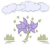 Karikaturblumen mit Wolkenvektor Lizenzfreies Stockbild