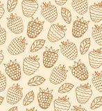 Karikaturblumenmuster Ländliches nahtloses Muster mit Beeren Himbeerretro- Hintergrund stock abbildung