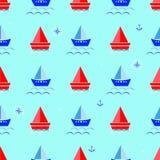 Karikaturboot, Hintergrund-Vektorillustration des Segelboots blaue Lizenzfreie Stockfotos