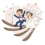 Karikaturbraut und -bräutigam Stockfotos