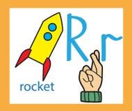 Karikaturbuchstabe R kreatives englisches Alphabet ABC-Konzept Gebärdensprache und Alphabet lizenzfreie stockfotografie