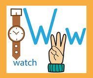 Karikaturbuchstabe W kreatives englisches Alphabet ABC-Konzept Gebärdensprache und Alphabet lizenzfreie stockfotos
