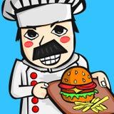 Karikaturchef, der Burger hält Stockfotos