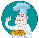 Karikaturchef, der eine Pizza hält Lizenzfreie Stockbilder