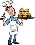 Karikaturchef mit Hamburgern Stockbilder