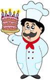 Karikaturchef mit Kuchen Lizenzfreie Stockfotografie