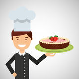 Karikaturchefnachtisch-Kuchenschokolade mit Erdbeere Stockfotos