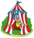 Karikaturclown im Zirkuszelt Lizenzfreies Stockfoto