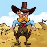 Karikaturcowboy betriebsbereit, seine Gewehren zu zeichnen Stockfotografie