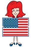 Karikaturdame-Holding amerikanische Flagge Stockbild