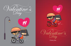 Karikaturdesign-Valentinsgrußtagesweinlesedesign Stockbilder
