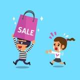 Karikaturdieb, der eine große Einkaufstasche von der Frau stiehlt lizenzfreie abbildung