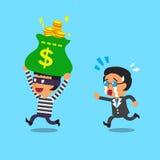 Karikaturdieb, der Geldtasche vom Geschäftsmann stiehlt Stockbild