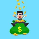 Karikaturdieb mit großer Geldtasche stock abbildung