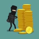 Karikaturdieb stiehlt Geld in der Maske Wirtschaftliches Verbrechen Lizenzfreies Stockfoto