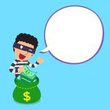 Karikaturdieb und -geld bauschen sich mit weißer Spracheblase vektor abbildung