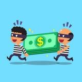 Karikaturdiebe, die Geldstapel stehlen stock abbildung