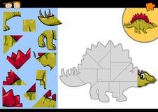 Karikaturdinosaurier-Laubsägenrätselspiel Stockbild