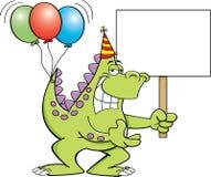 Karikaturdinosaurier mit Ballonen auf ihm ` s Endstück und Halten eines Zeichens Lizenzfreie Stockbilder