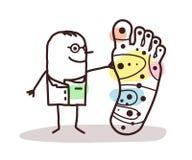 Karikaturdoktor mit großem Fuß und und Reflexzonenmassage Lizenzfreies Stockbild