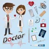 Karikaturdoktor mit medizinischen Instrumenten lizenzfreie abbildung