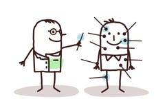 Karikaturdoktor mit Patienten und Akupunktur stock abbildung