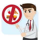 Karikaturdoktor mit ungesunder Fertigkost verbieten Signage stock abbildung