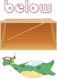 Karikaturdrachetaucher schwimmt unter den Kasten Englische Grammatik Lizenzfreie Stockbilder
