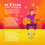 Karikature-gitarren-Spieler Jugendgitarrist zeigt sich Hand Vektorillustration des Jugendlichen Gitarre halten stock abbildung