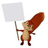 Karikatureichhörnchen mit einem leeren Rahmen Stockfoto