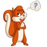 Karikatureichhörnchen, das mit Fragenblase denkt Lizenzfreies Stockbild