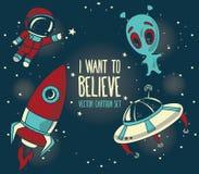 Karikaturelemente für kosmisches Design Stockfoto