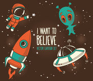 Karikaturelemente für kosmisches Design Stockbilder