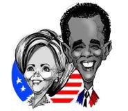 Karikaturen - Clinton/Obama vector illustratie