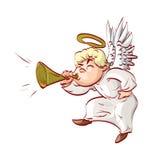 Karikaturengel, der eine Trompete durchbrennt Stockfotos