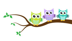 Karikatureule auf einem Baum Stockbilder